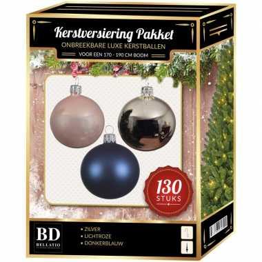 Kerstbal en piek set 130x zilver-roze-blauw voor 180 cm boom