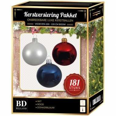 Kerstbal en piek set 181x wit-blauw-rood voor 210 cm boom