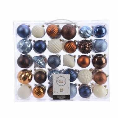 Kerstversiering kerstballen set blauw/ bruin en wit 60 delig