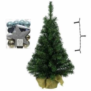 Mini kerstboom inclusief lampjes en wit/bruin/blauwe versiering