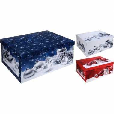 Rode kerstballen opbergbox 49 cm
