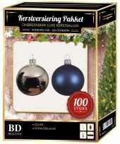 100 stuks kerstballen mix zilver donkerblauw voor 150 cm boom