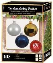101 stuks kerstballen mix wit goud donkerblauw voor 150 cm boom