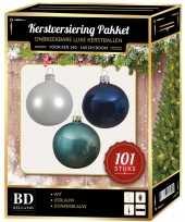 101 stuks kerstballen mix wit ijsblauw blauw voor 150 cm boom