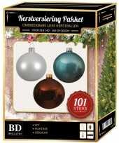 101 stuks kerstballen mix wit ijsblauw bruin voor 150 cm boom