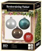 101 stuks kerstballen mix wit ijsblauw kasjmier voor 150 cm boom