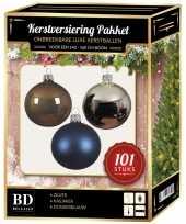 101 stuks kerstballen mix zilver blauw bruin voor 150 cm boom