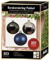 101 stuks kerstballen mix zilver grijs blauw voor 150 cm boom