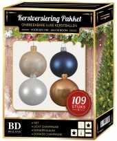 109 stuks kerstballen mix wit beige donkerblauw voor 150 cm boom