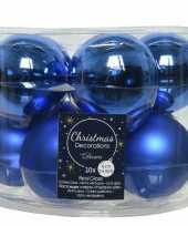 10x kobalt blauwe glazen kerstballen 6 cm glans en mat