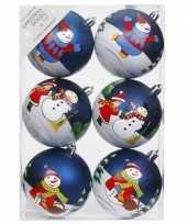 12x blauwe kerstballen 8 cm kunststof met print