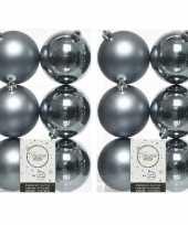 12x grijsblauwe kerstballen 8 cm kunststof mat glans