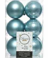 12x ijsblauwe kerstballen 6 cm kunststof mat glans
