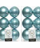 12x ijsblauwe kerstballen 8 cm kunststof mat glans
