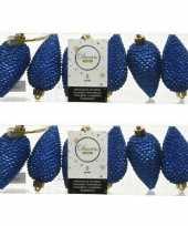 12x kobalt blauwe dennenappels kersthangers 8 cm kunststof glitte
