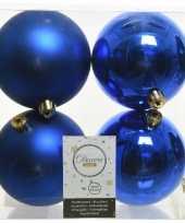 12x kobalt blauwe kerstballen 10 cm kunststof mat glans