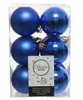 12x kobalt blauwe kerstballen 6 cm kunststof mat glans