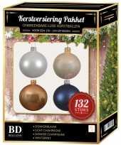 132 stuks kerstballen mix wit beige donkerblauw voor 180 cm boom
