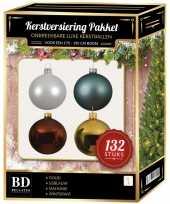 132 stuks kerstballen mix wit goud blauw bruin voor 180 cm boom