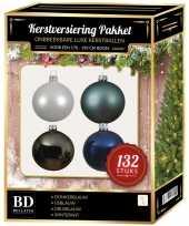 132 stuks kerstballen mix wit grijs blauw voor 180 cm boom