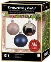 133 stuks kerstballen mix zilver blauw roze voor 180 cm boom