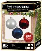 134 stuks kerstballen mix wit blauw rood voor 180 cm boom