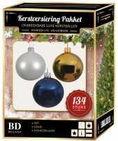 134 stuks kerstballen mix wit goud donkerblauw voor 180 cm boom