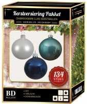 134 stuks kerstballen mix wit ijsblauw blauw voor 180 cm boom