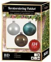 134 stuks kerstballen mix wit ijsblauw kasjmier voor 180 cm boom