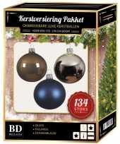 134 stuks kerstballen mix zilver blauw bruin voor 180 cm boom