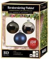 134 stuks kerstballen mix zilver grijs blauw voor 180 cm boom