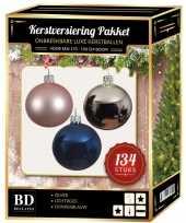 134 stuks kerstballen mix zilver roze blauw voor 180 cm boom