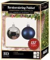 137 stuks kerstballen mix zilver donkerblauw voor 180 cm boom 10157964