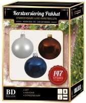 147 stuks kerstballen mix wit bruin donkerblauw voor 180 cm boom