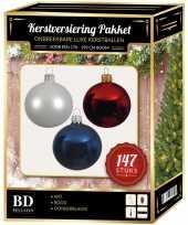 147 stuks kerstballen mix wit donkerblauw rood voor 180 cm boom