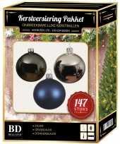 147 stuks kerstballen mix zilver grijs blauw voor 180 cm boom