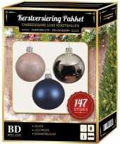 147 stuks kerstballen mix zilver roze blauw voor 180 cm boom