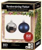 168 stuks kerstballen mix zilver donkerblauw voor 210 cm boom