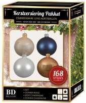 168x kerstballen mix champagne wit donkerblauw voor 210 cm boom