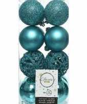 16x turquoise blauwe kerstballen 6 cm kunststof mix