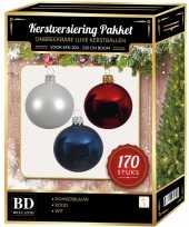 170 stuks kerstballen mix wit donkerblauw rood voor 210 cm boom