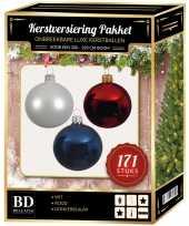 171 stuks kerstballen mix wit blauw rood voor 210 cm boom