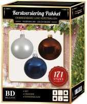 171 stuks kerstballen mix wit bruin donkerblauw voor 210 cm boom