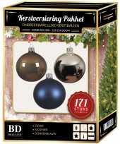 171 stuks kerstballen mix zilver blauw bruin voor 210 cm boom