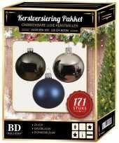 171 stuks kerstballen mix zilver grijs blauw voor 210 cm bo