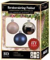 171 stuks kerstballen mix zilver roze donkerblauw voor 210 cm bo