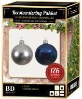 176 stuks kerstballen mix zilver donkerblauw voor 210 cm boom