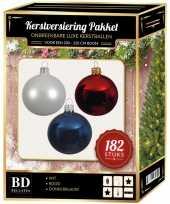 182 stuks kerstballen mix wit blauw rood voor 210 cm boom
