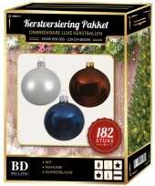 182 stuks kerstballen mix wit bruin donkerblauw voor 210 cm boom