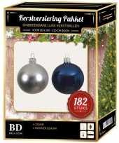 182 stuks kerstballen mix zilver donkerblauw voor 210 cm boom